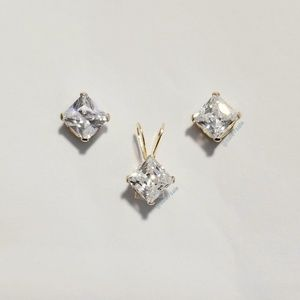 ♥️ Real 10K Gold Earrings + Pendant Set Solid 10KT